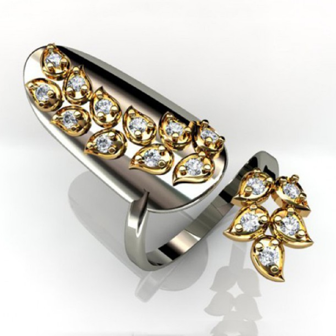 Nail ring bling Glittering Silver Metalic Full Nail Cap Ring with Gold Design and Rhinestones