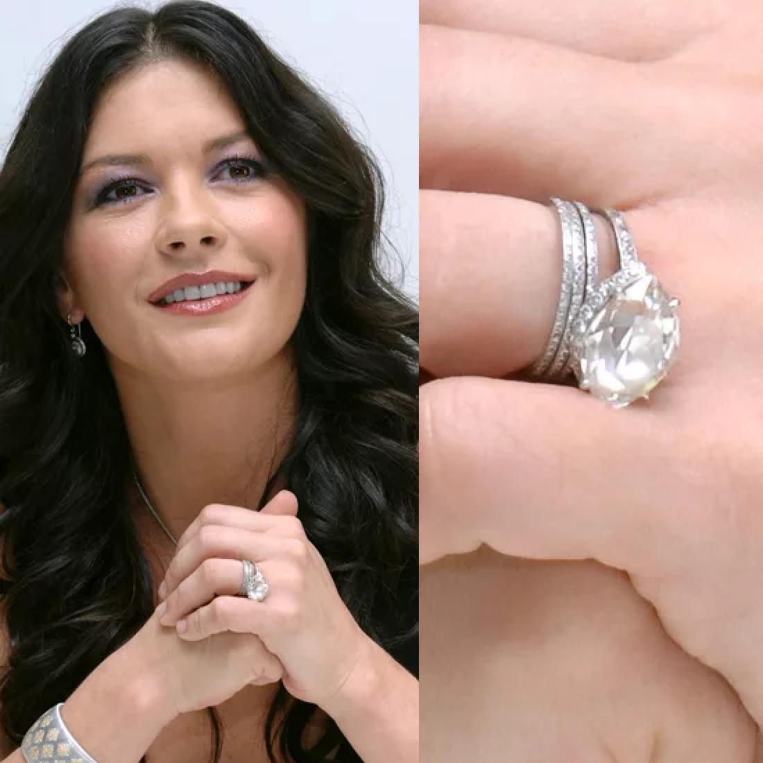 Celebrity Jewelry Catherine Zeta-Jones Wear An Antique Diamond Cut Ring