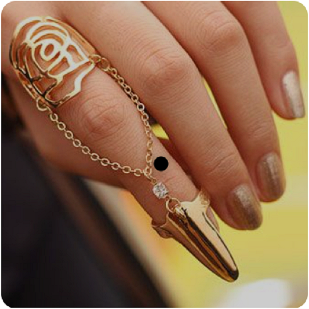 Nail ring bling Ancient Glamour Nail Ring with the Modern Twist Finger Ring