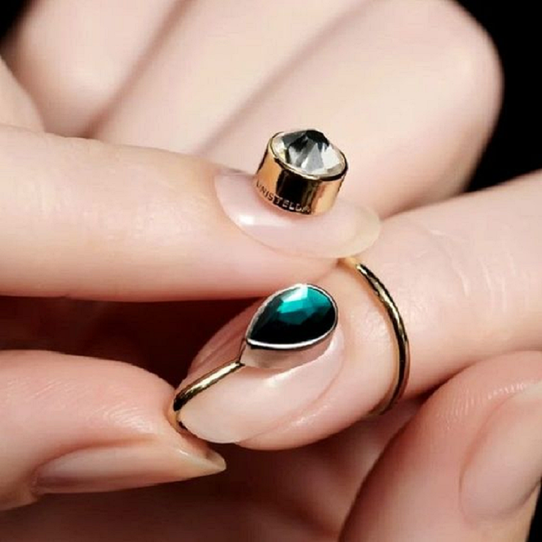 Nail ring bling Gold Cuticle Hugging Nail Ring with Emerald Green Stone and Clear Crystal Stone