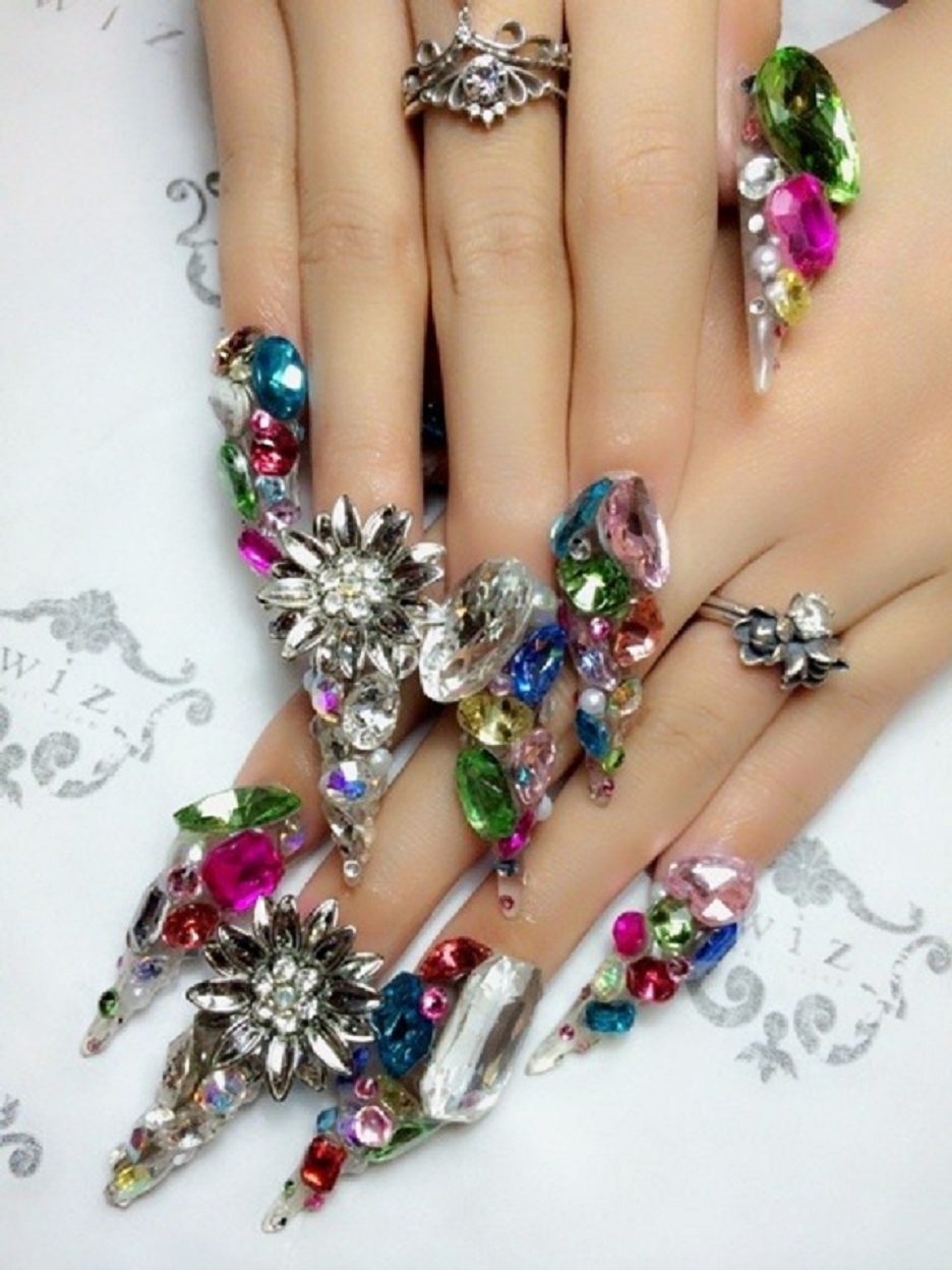 Nail ring bling Glittering Multi-Colour Flower Patterned Rhinestones Cuticle Ring