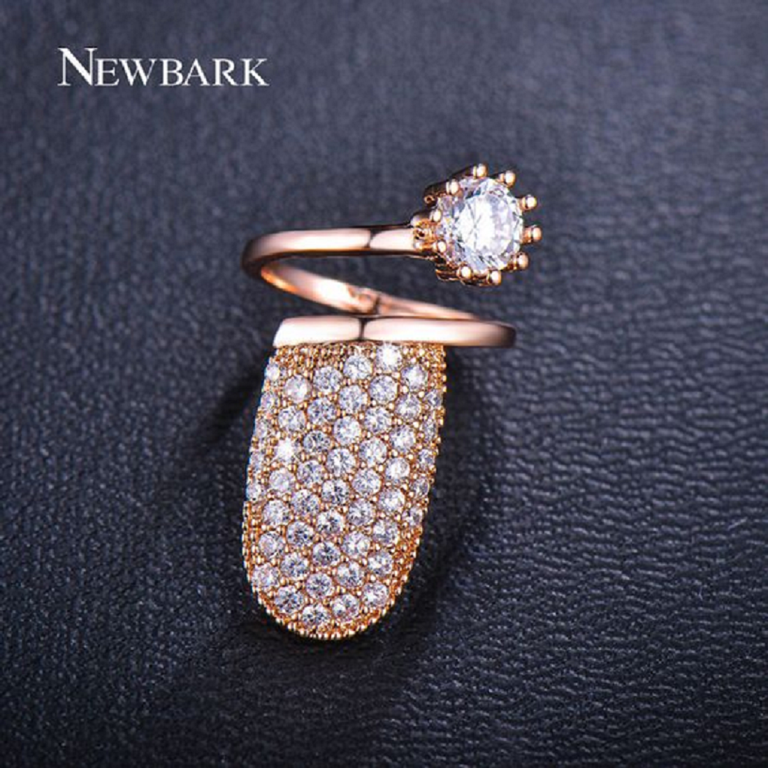 Nail ring bling Cuticle Hugging Gold Nail Ring with Diamond and Rhinestones