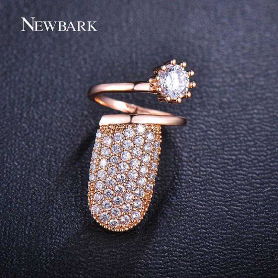 Nail ring bling Cuticle Hugging Gold Nail Ring with Diamond and Rhinestones