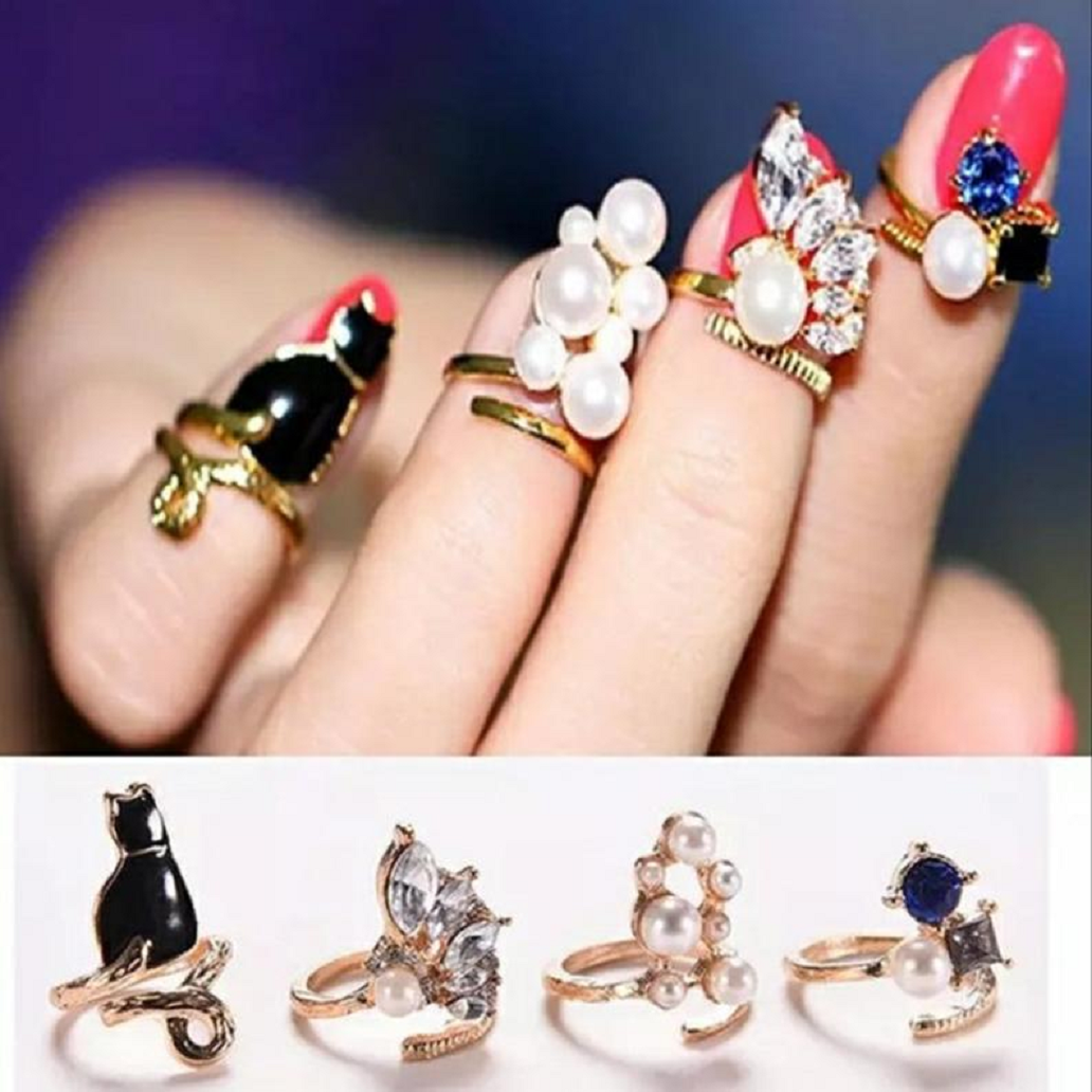 Nail ring bling 4Pcs/Set Crystal and Pearl Finger Nail Rings
