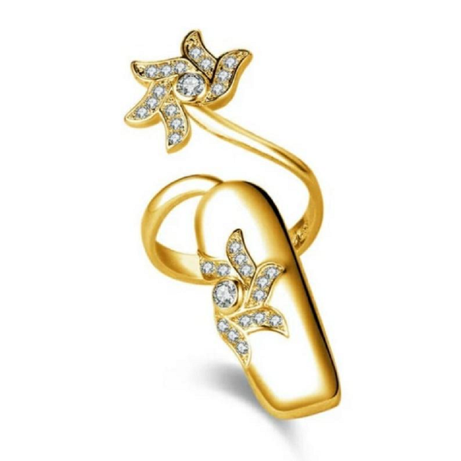 Nail ring bling Korean Geometric Gold FInger Nail Ring Vintage Jewelry with Rhinestones