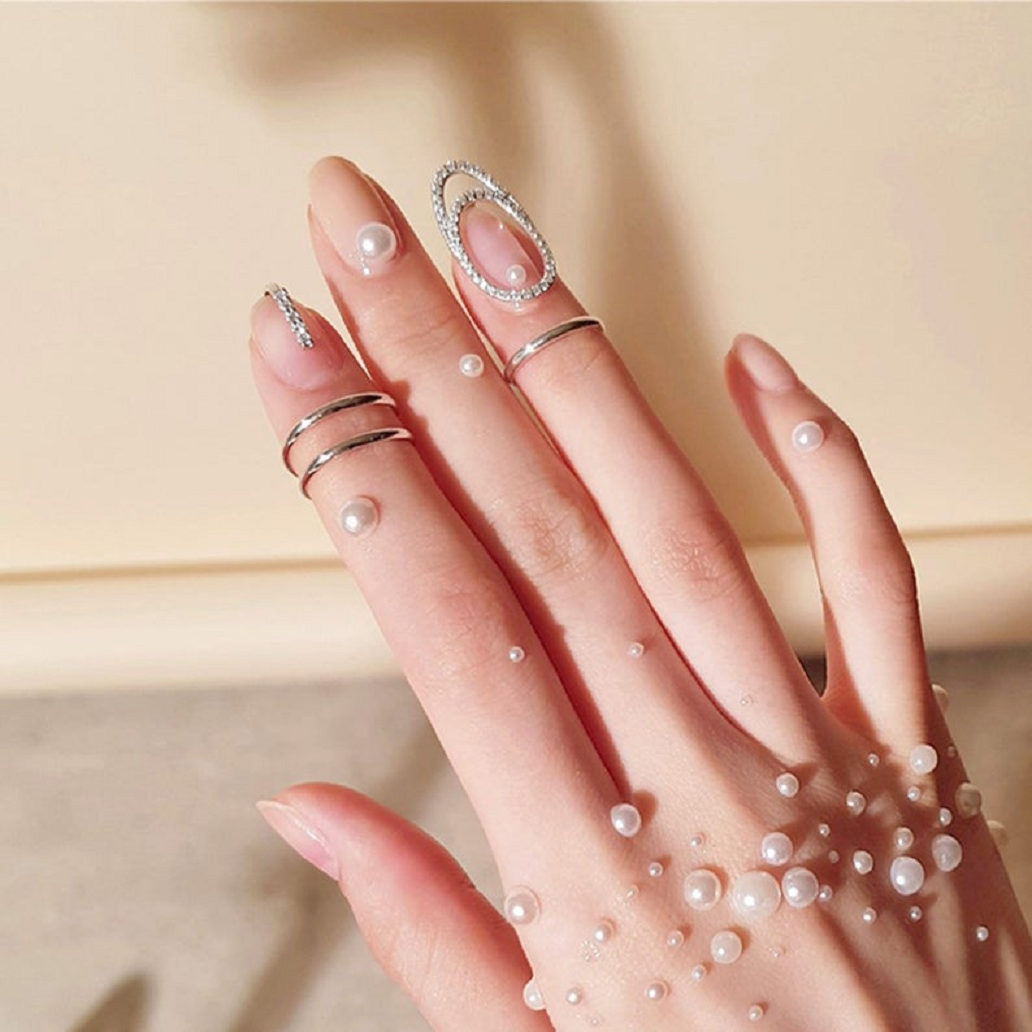 Nail ring bling Fingernail Protective Cuticle Ring with Pearls and Rhinestones