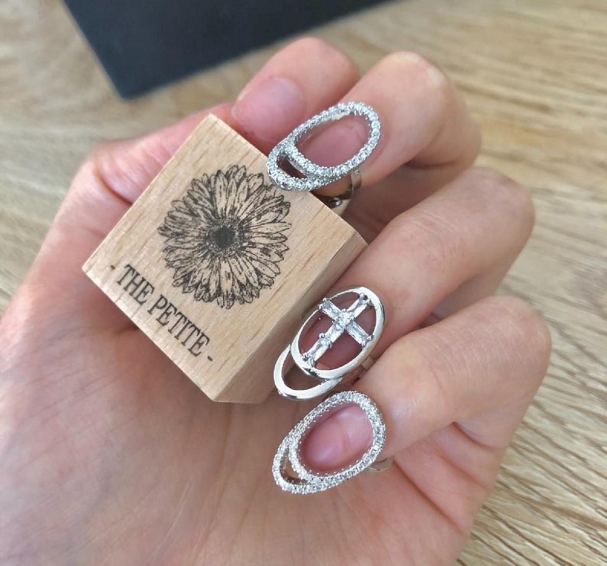 Nail ring bling Ruthless Fingertip Nail Rings with Rhinestones
