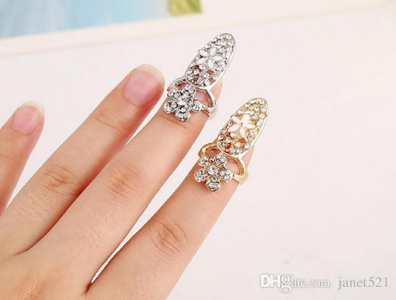 Nail ring bling Nail ring bling Rhinestone Decorated Gold Silver Tone Fingernail Rings with Flower Pattern