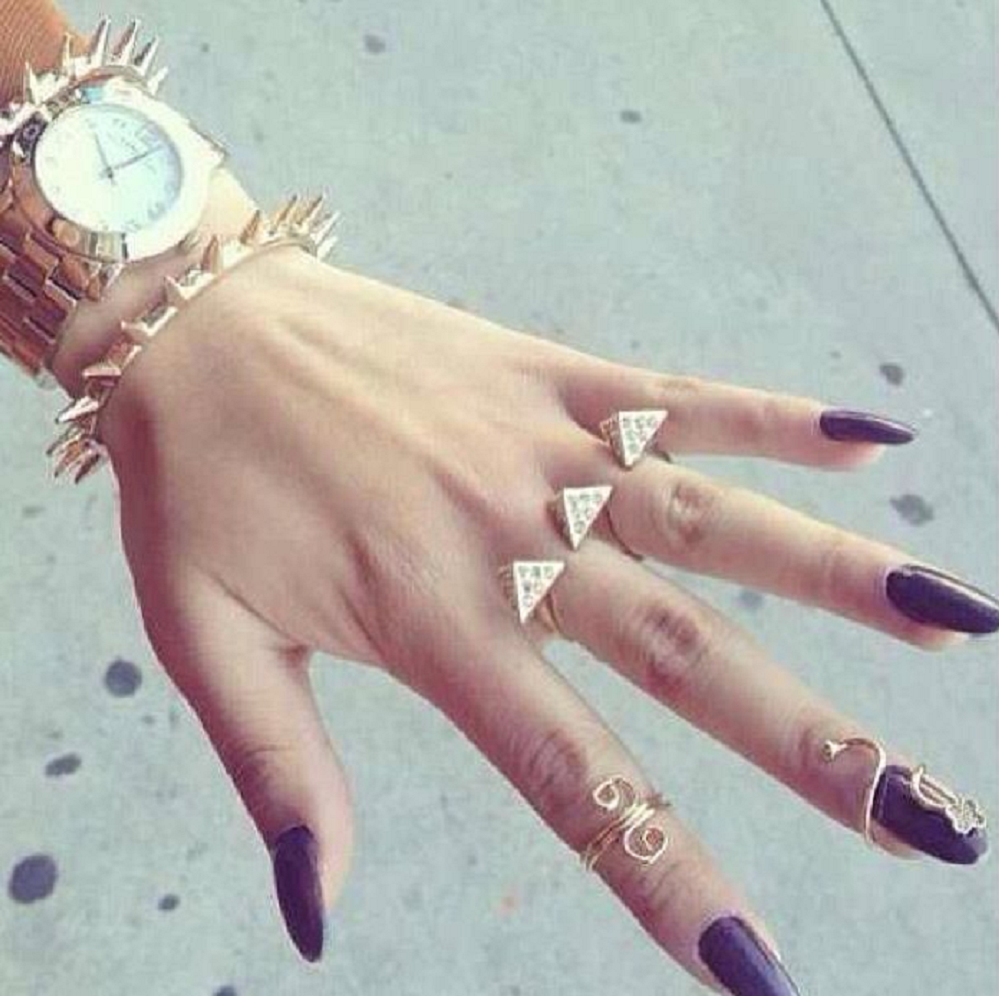 Black Oval Nails with Gold Finger Nails Ring Jewelry