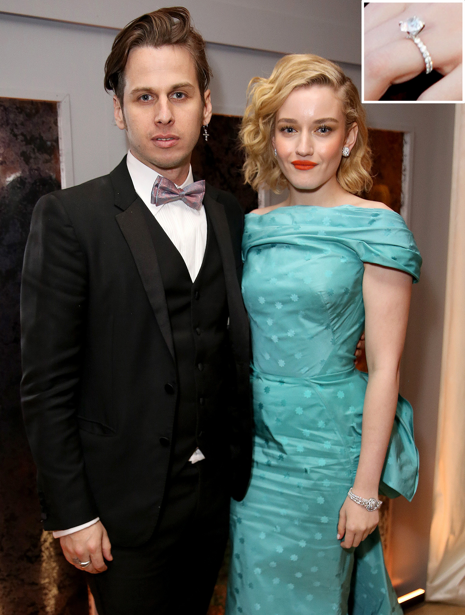 Celebrity Jewelry Julia Garner and Mark Foster Wear a Solitaire Diamond Mounted On A Band