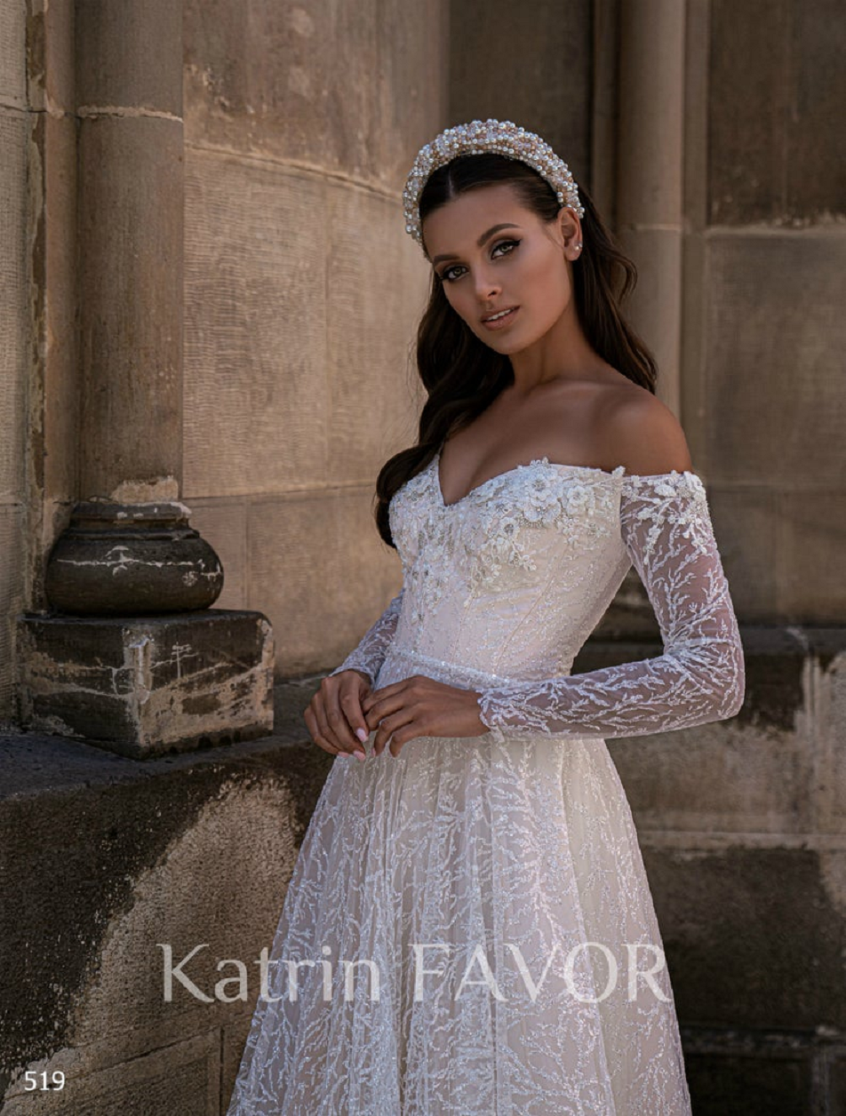 Wedding dress bling Off The Shoulder Wedding Dress with Long Sleeves And Embellishments