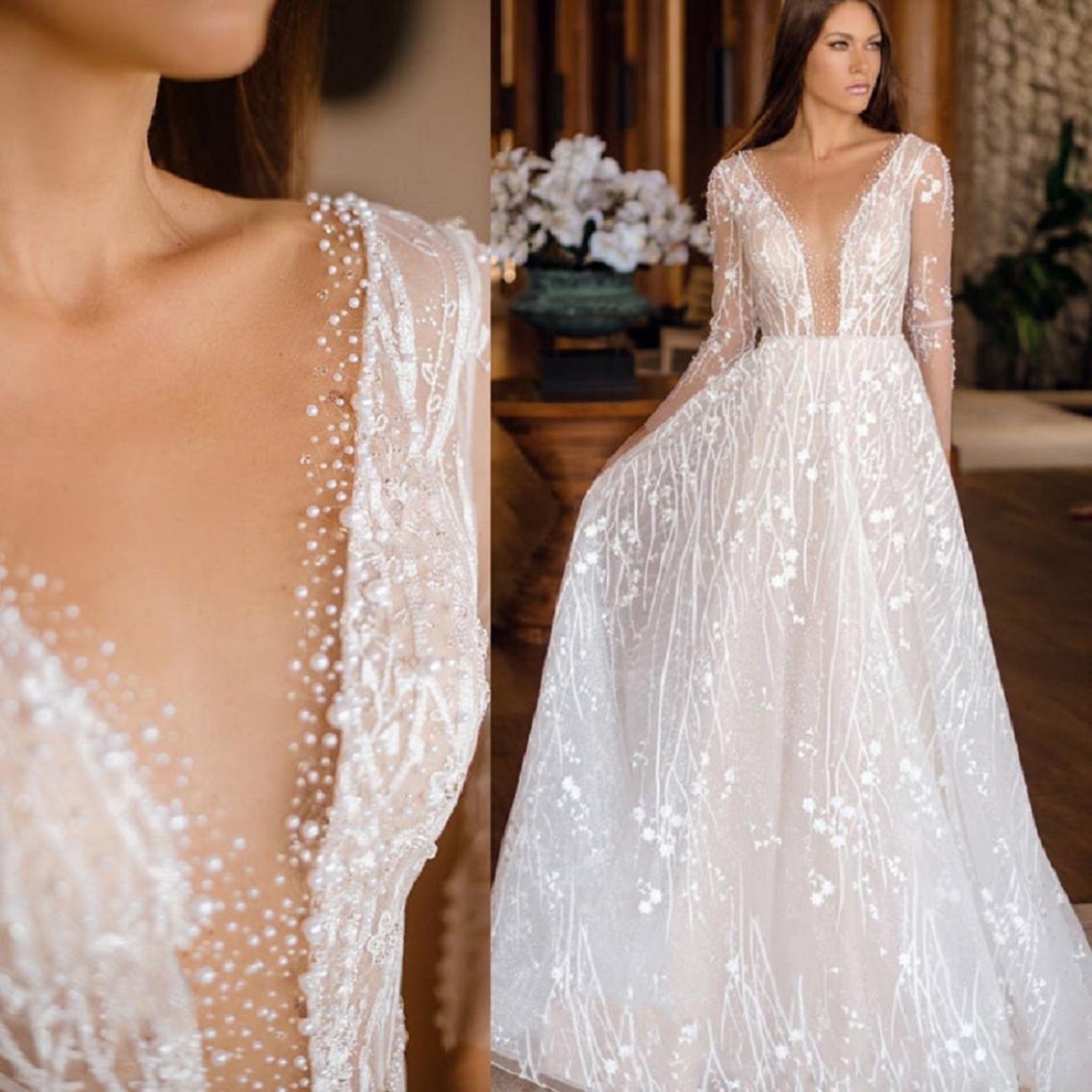 Wedding dress bling Glittering Deep V Neck, Long Sleeves Bridal Gown