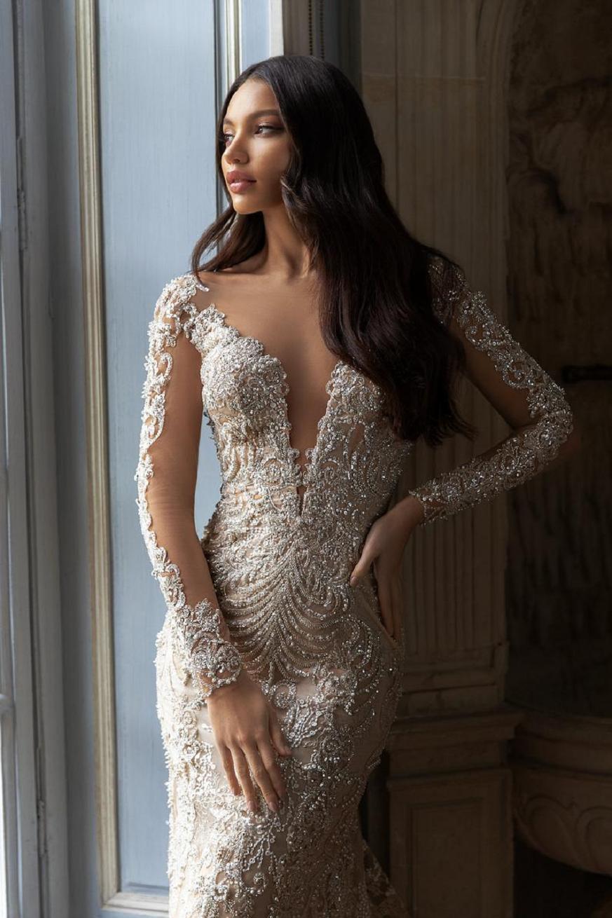 Wedding dress bling Glittering Beaded V-Neck, Long Sleeve Wedding Bridal Gown