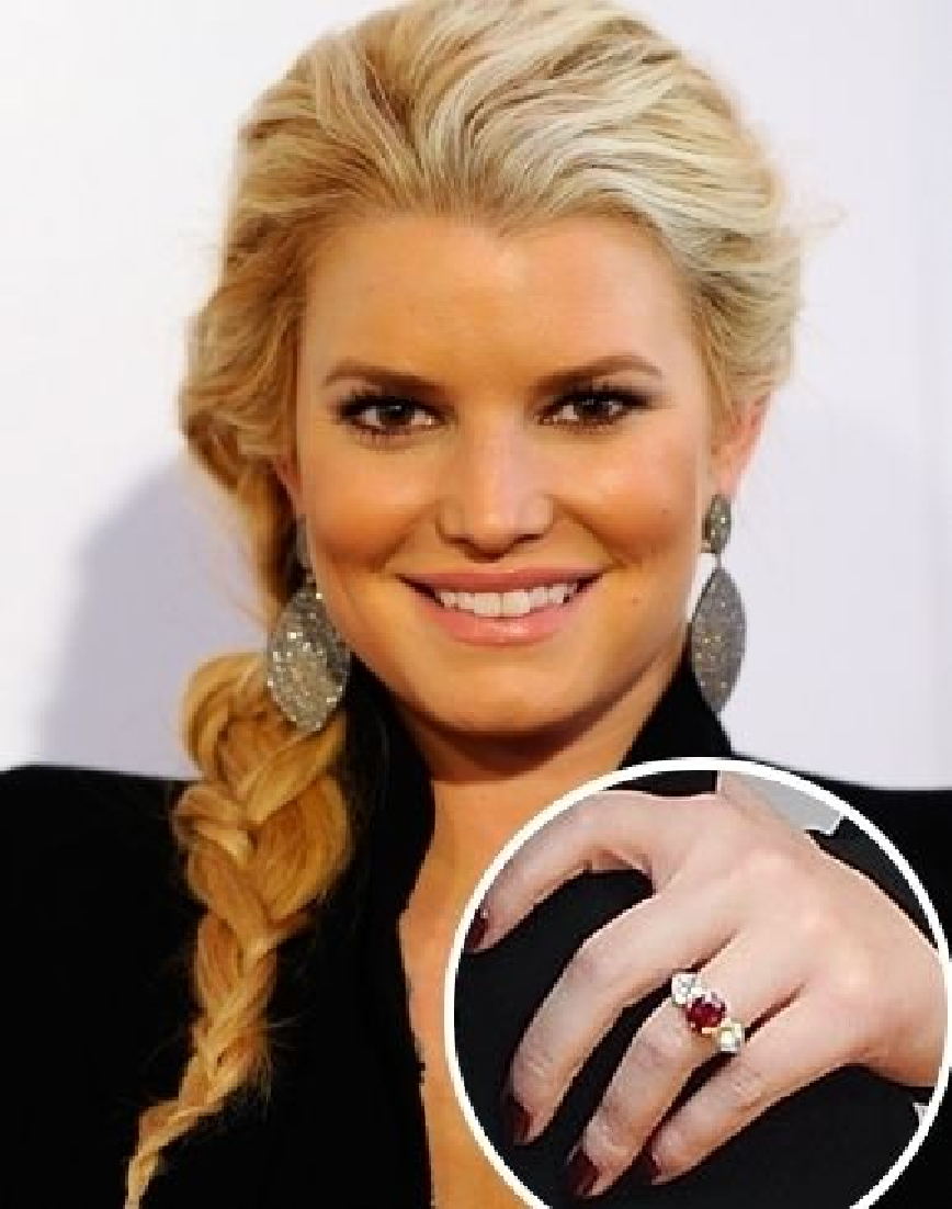 Celebrity Jewelry Jessica Simpson's Glittering Ruby Engagement Ring