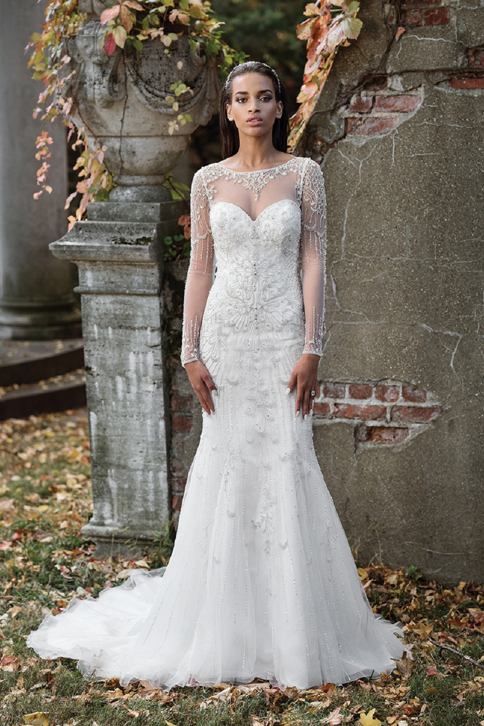 Wedding dress bling Beaded Fit and Flare Bridal Gown with Illusion Neckline and Long Detailed Sleeves