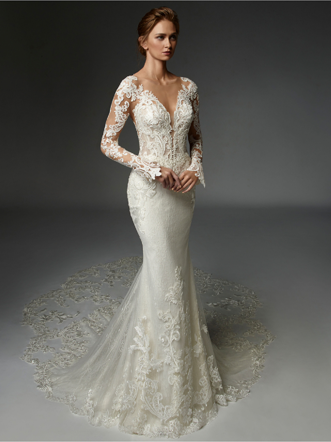Wedding dress bling Baroque Lace with Thousands Of Hand-Embroidered Beads and Paillettes Bridal Gown