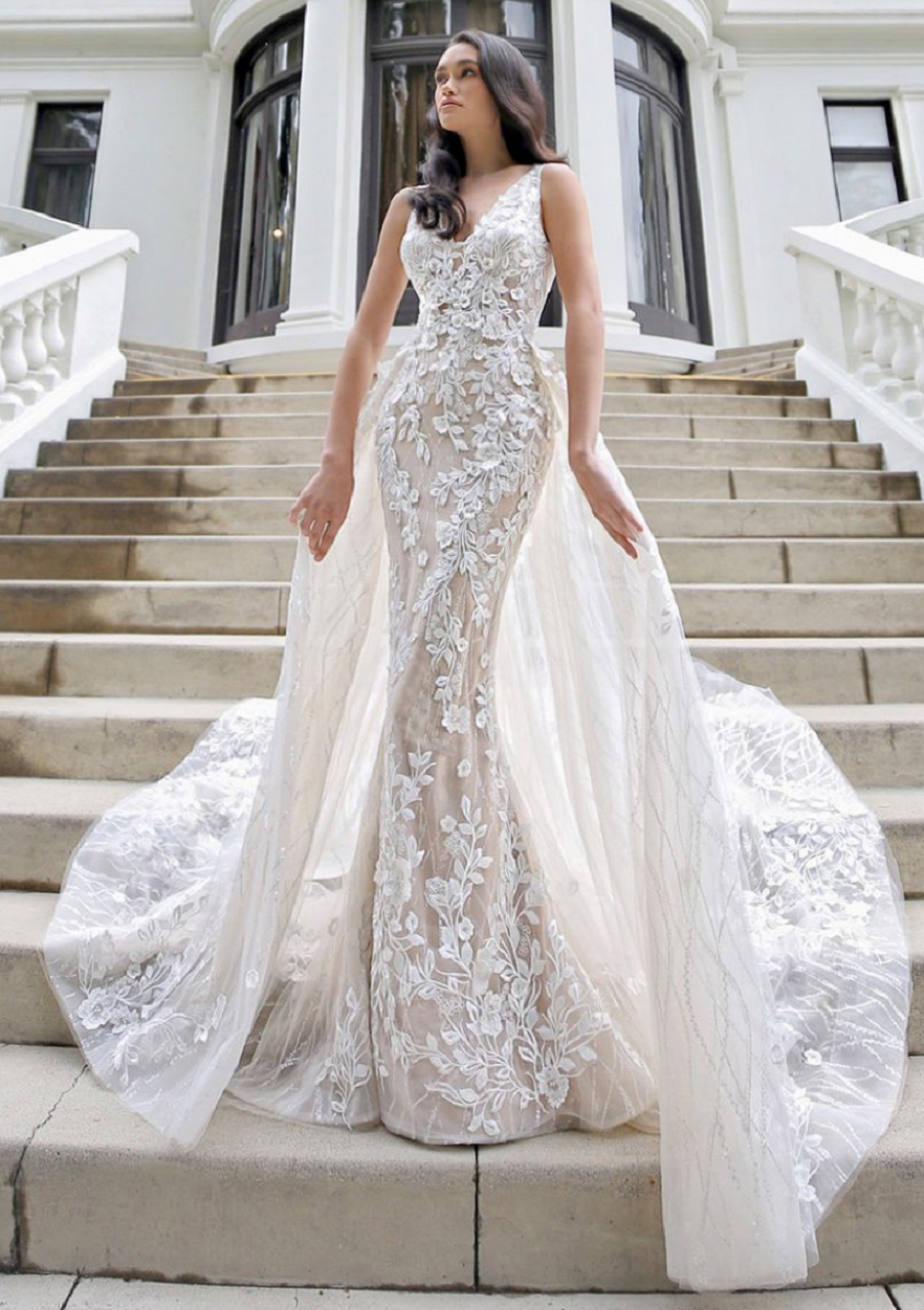 Wedding dress bling Gorgeous 3D Floral with Sequined Tulle Mermaid A-line Bridal Gown with A Detachable Train