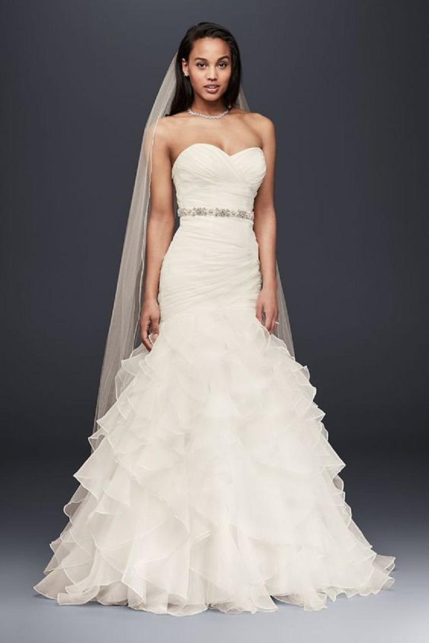 Wedding dress bling Organza Mermaid Wedding Dress with Ruffles and Embellished Rhinestone Waist Belt