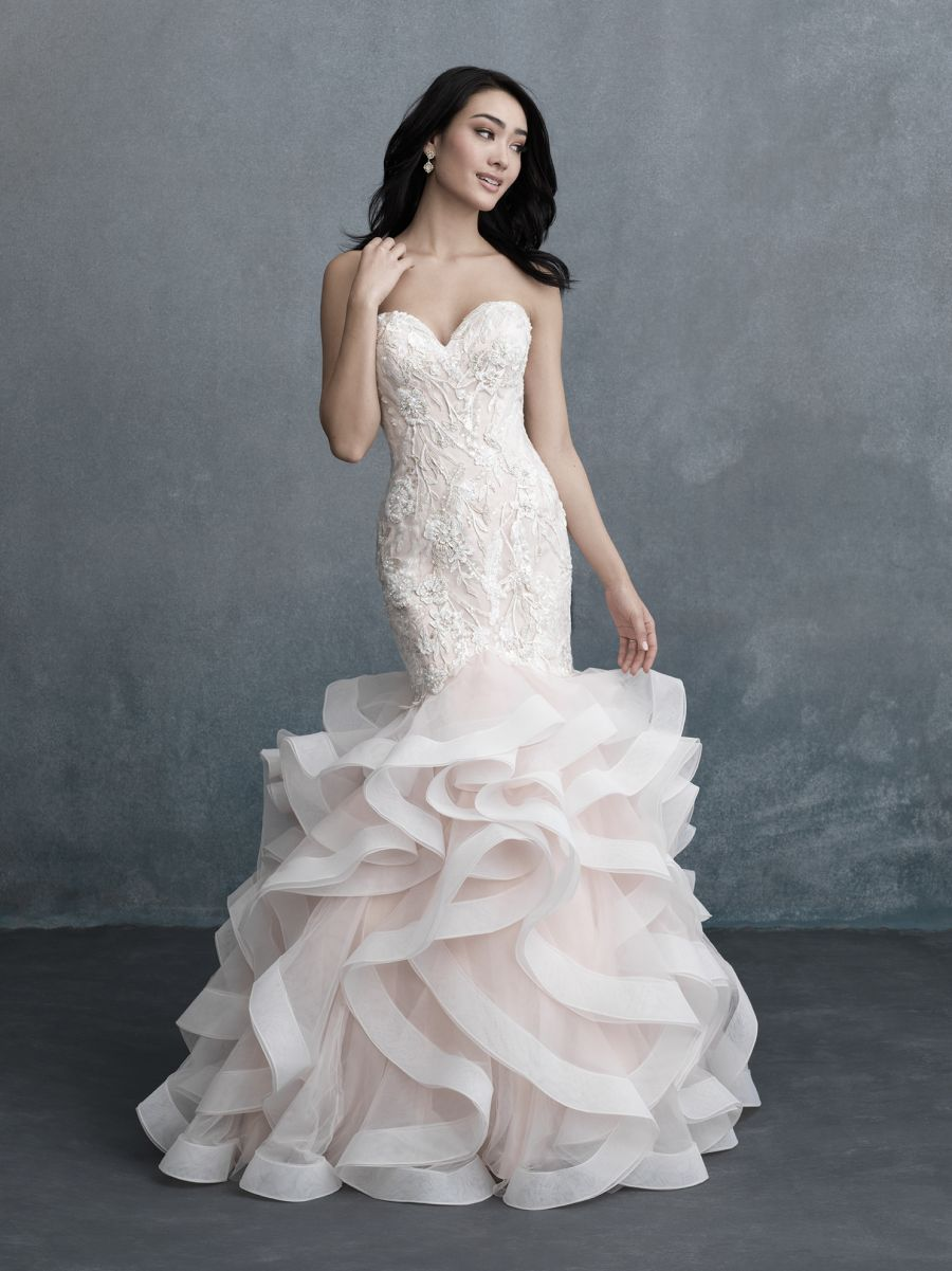Wedding dress bling Gorgeous Ruffles and Lace Combine In This Classically Bridal Look with Glittering Rhinestones and Beads