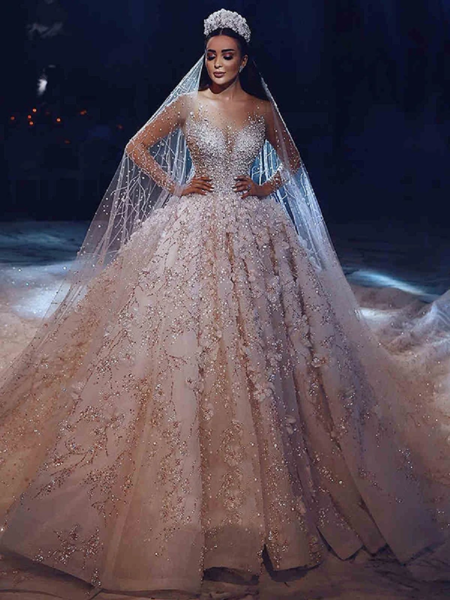 Wedding dress bling Ball Gown Vintage Wedding Dress with Lace Long Sleeve with Beads and Rhinestones