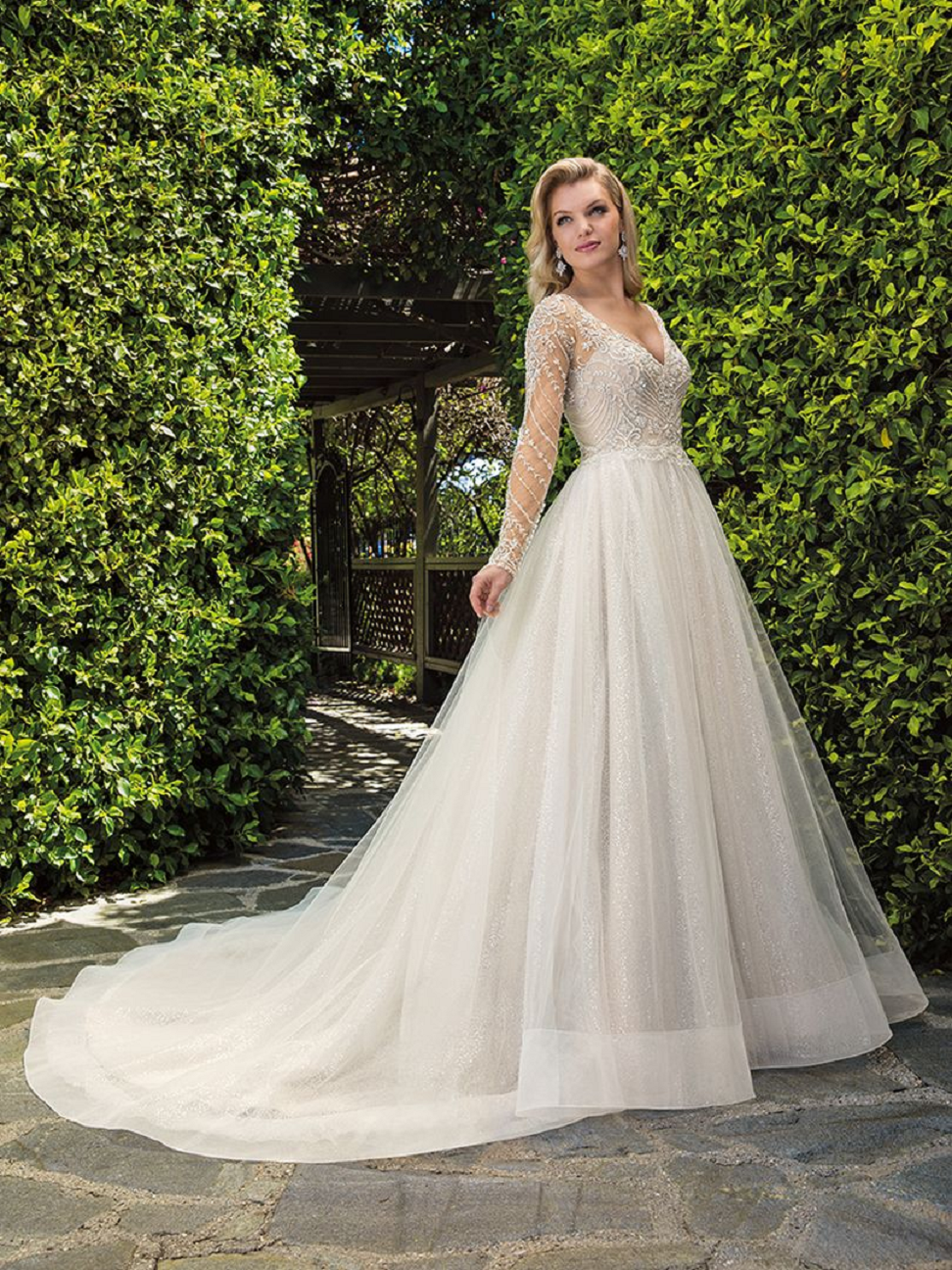 Long-Sleeve Sequined Tulle, Silver Beaded Bodice and Long Train Bridal Gown