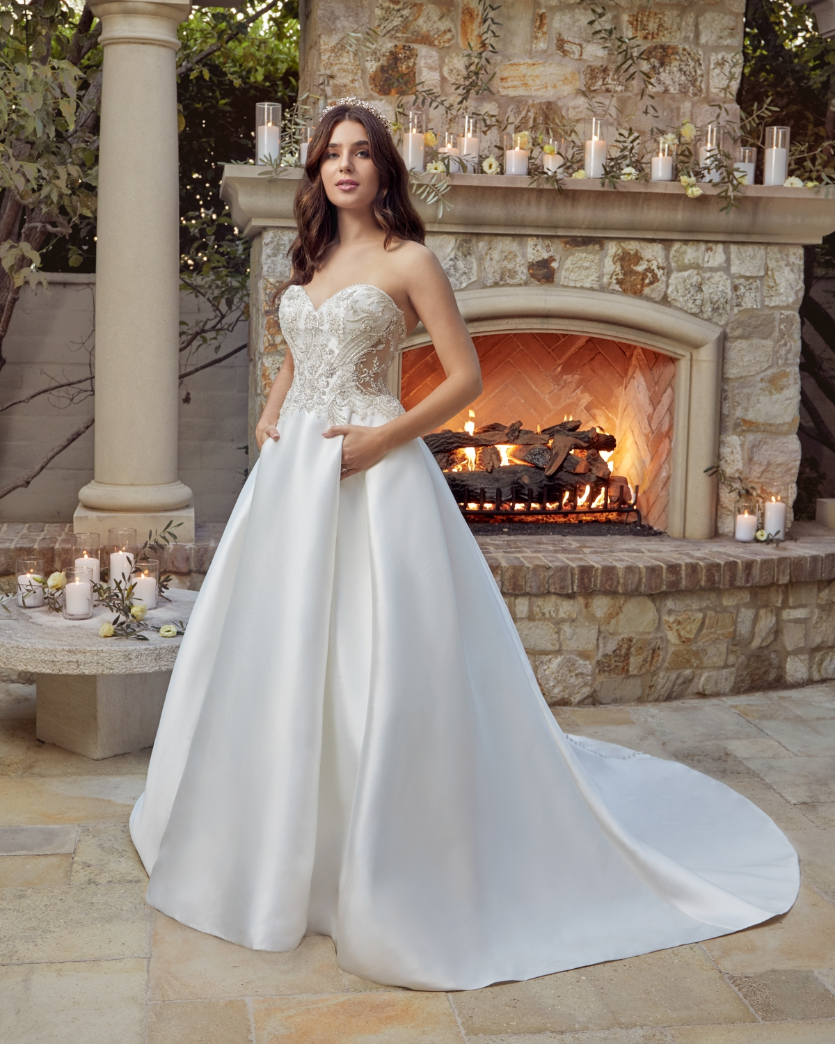 Glittering Mikado with Beading & Sequin Embroidery Off The Shoulder Sweetheart Neckline Bridal Gown