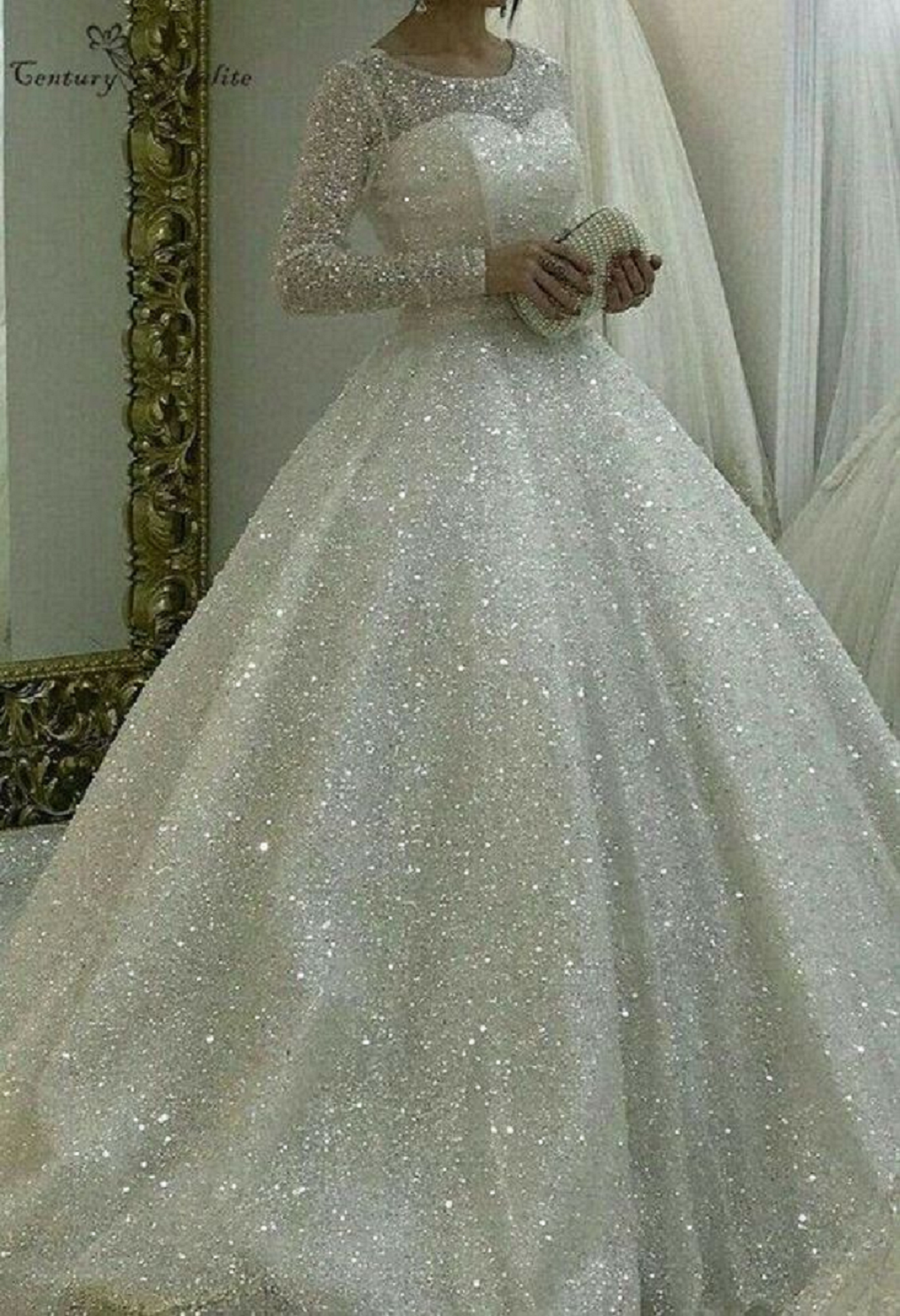 Long Sleeves, Classic Neckline Glittering Bridal Gown