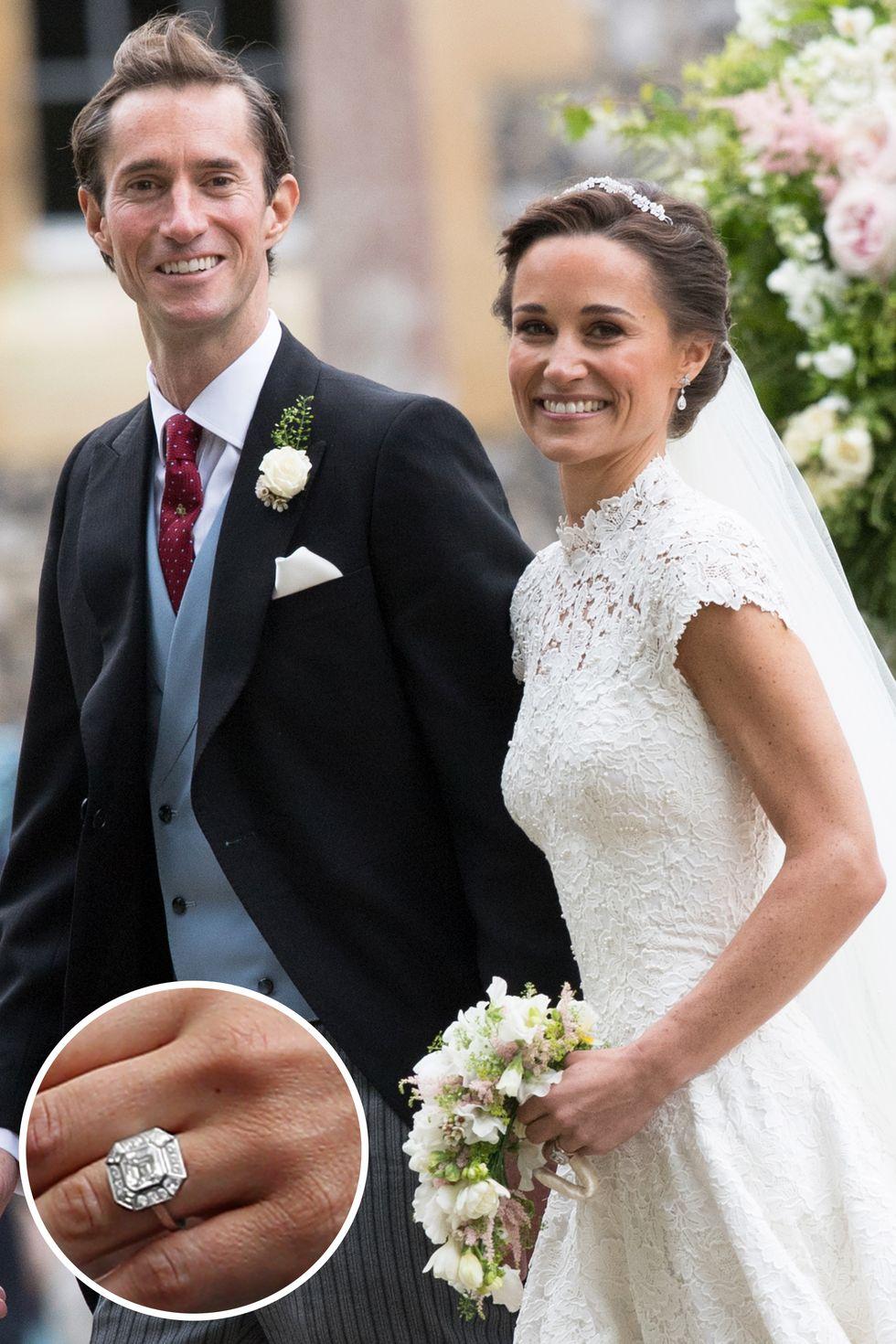Celebrity Jewelry Pippa Middleton and James Matthews Show Their Diamond Cut Glittering Wedding Ring