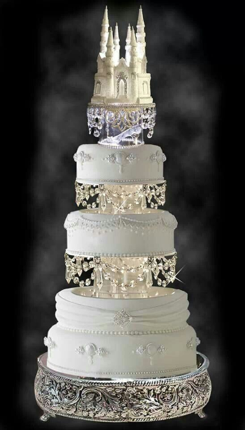 Bling wedding receptions Disney Castle Wedding Cake Topper with Hanging Crystals