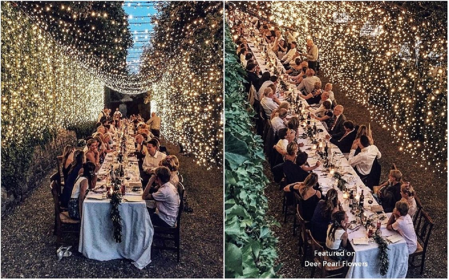 Bling wedding receptions Take the Reception Outdoors with Sparkling White Fairy Lights