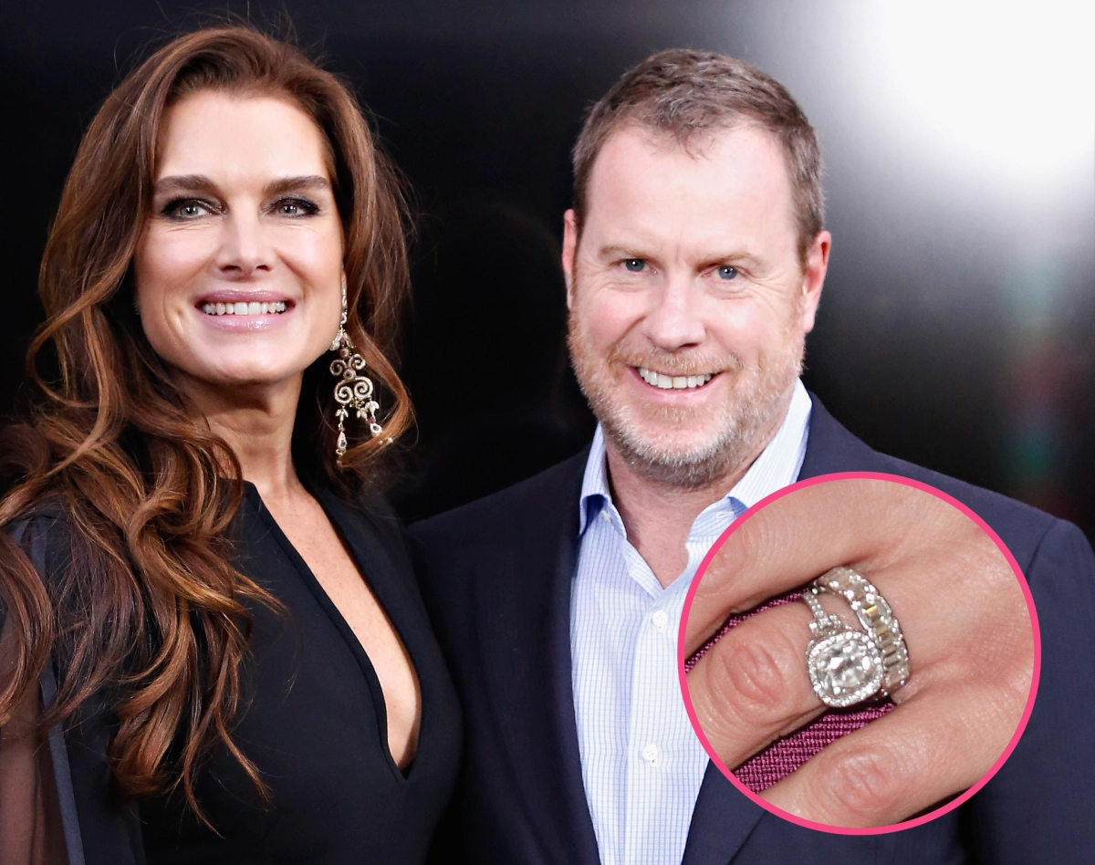 Celebrity Jewelry Brooke Shields Wears Her Antique Platinum and Gold Diamond Ring