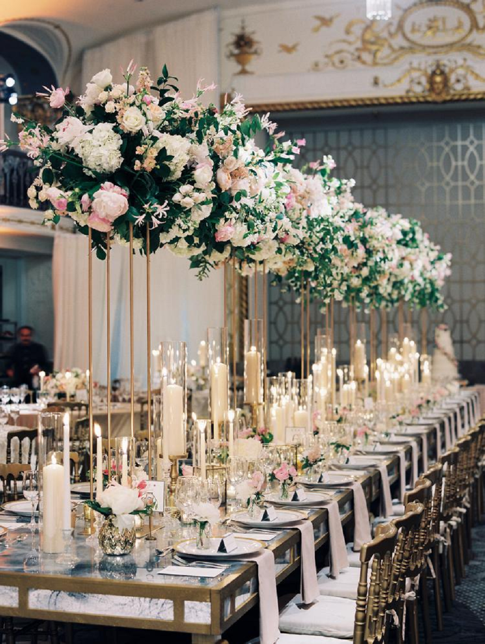 Bling wedding receptions A Floral-Filled Wedding Dining Hall