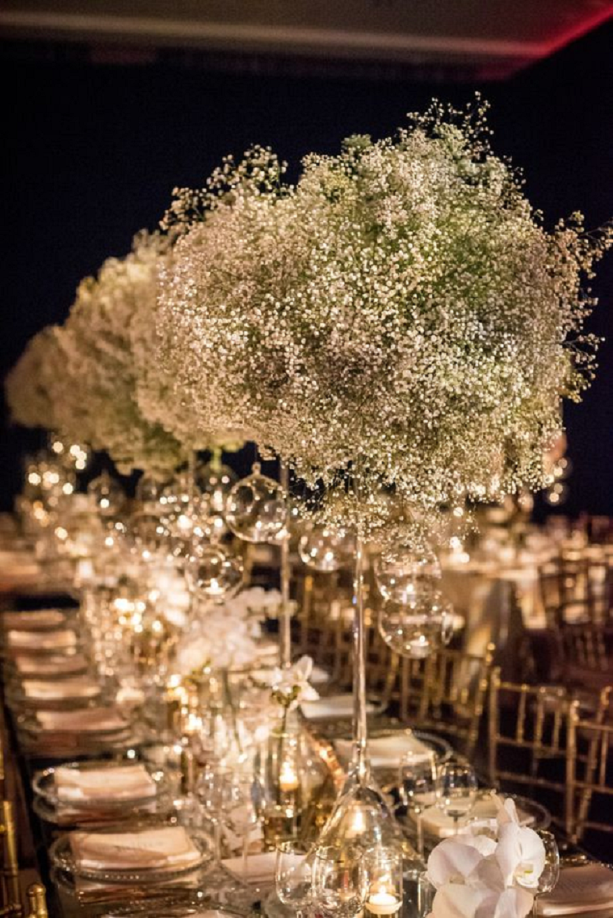 Bling wedding receptions Luxury Sparkling Green, White and Gold Wedding Reception Table Centerpiece