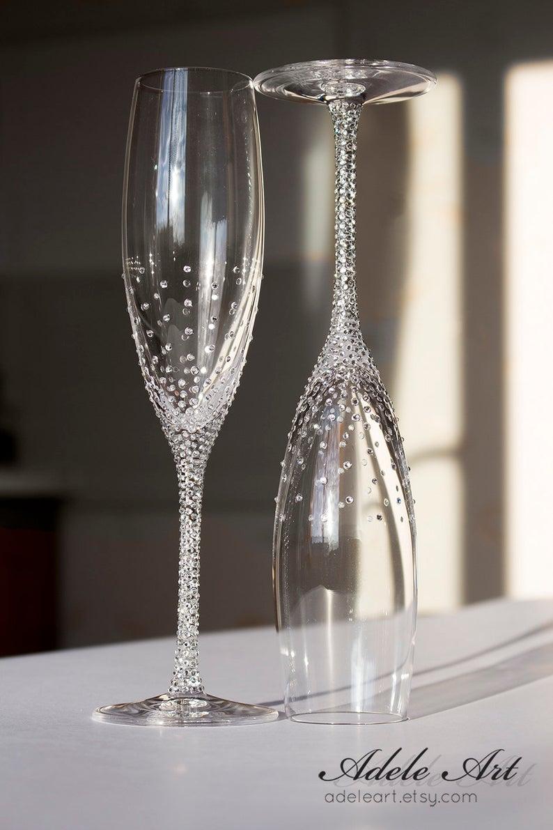Bling wedding receptions   Champagne Wedding Flutes with Glittering Swarovski Crystals