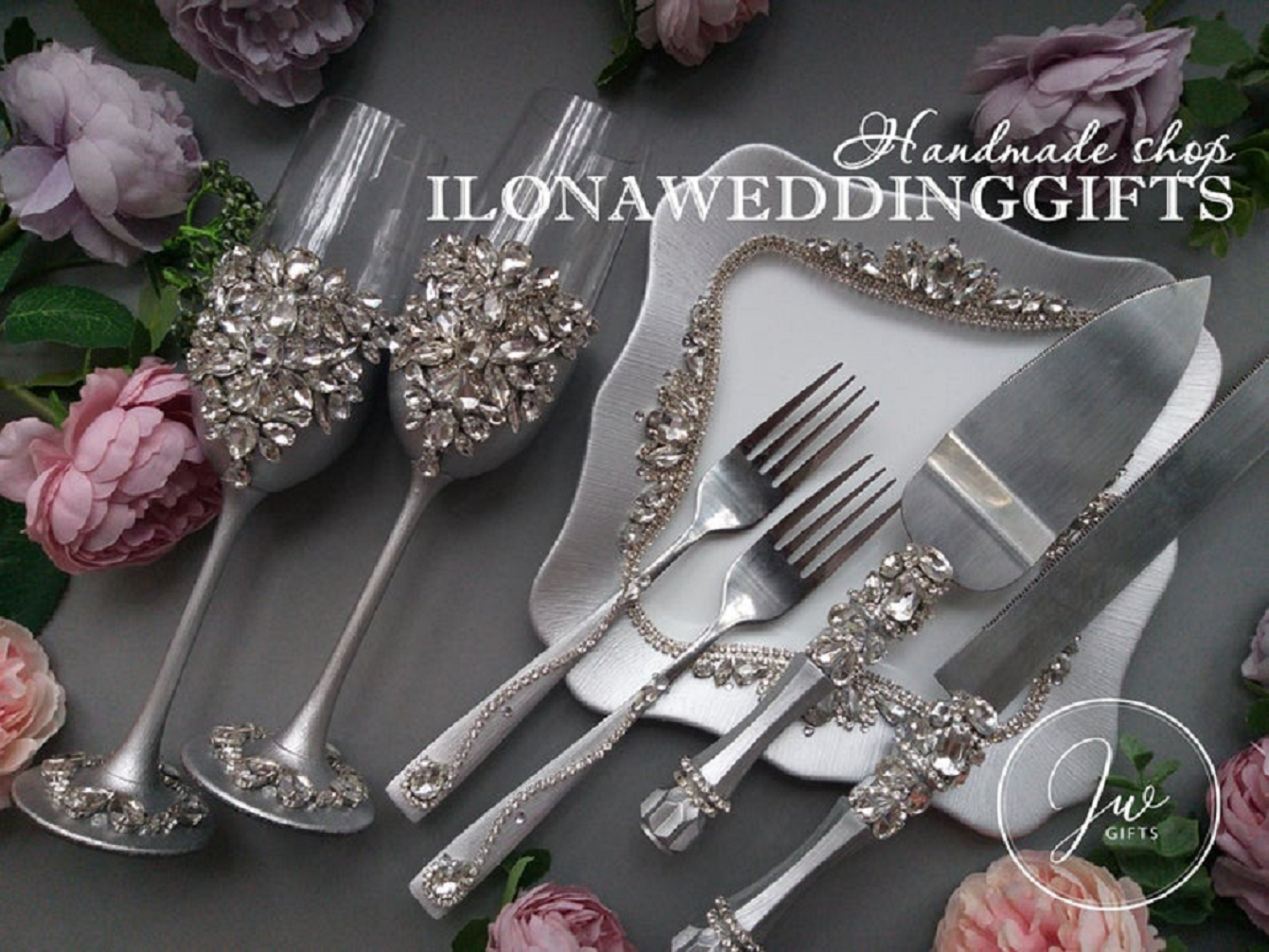 Bling wedding receptions Silver Toasting Flutes, Cake Server Knife and Plate with Swarovski Crystal Gems