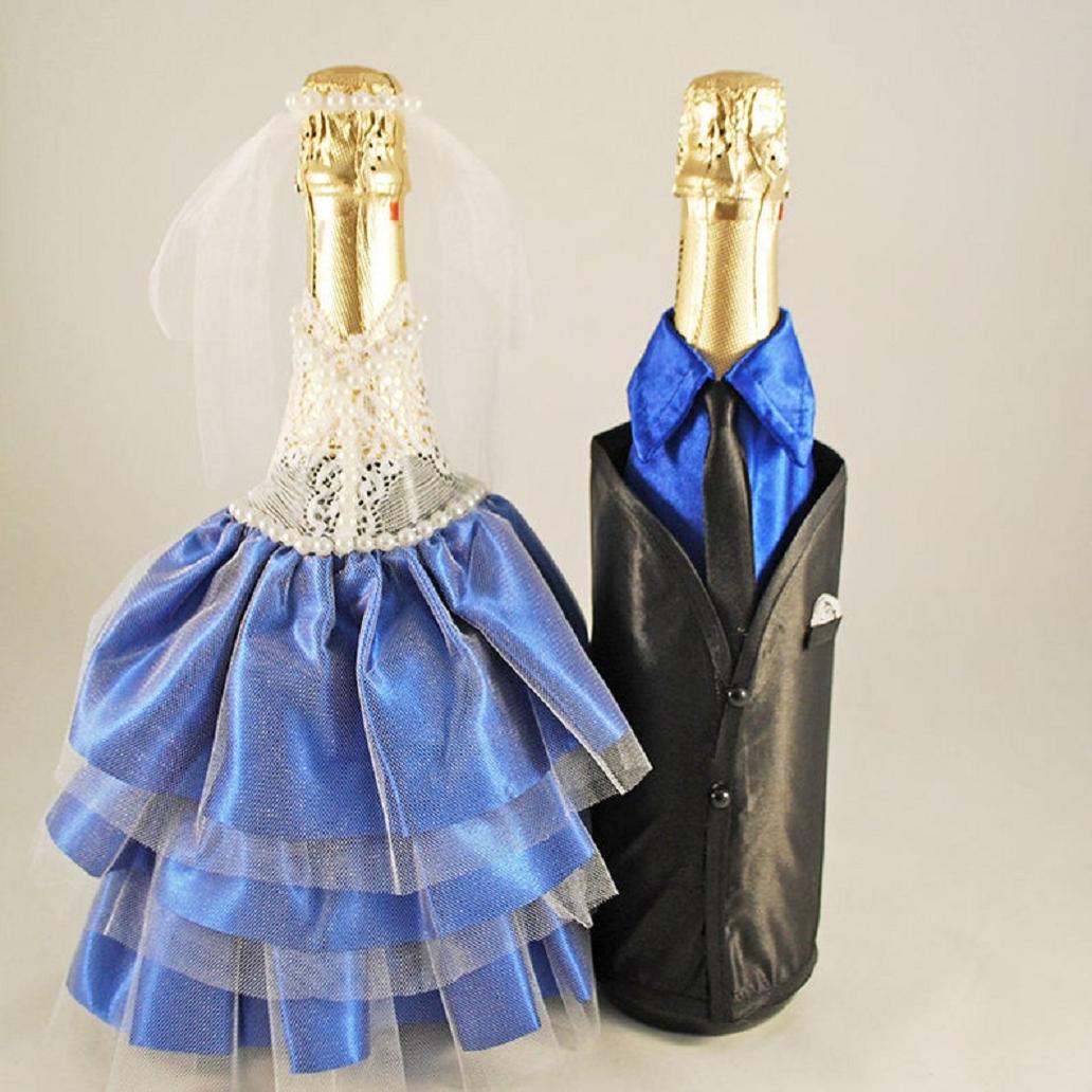 Bling wedding receptions Bottle Decor For Wedding, Bride and Groom Champagne Bottle