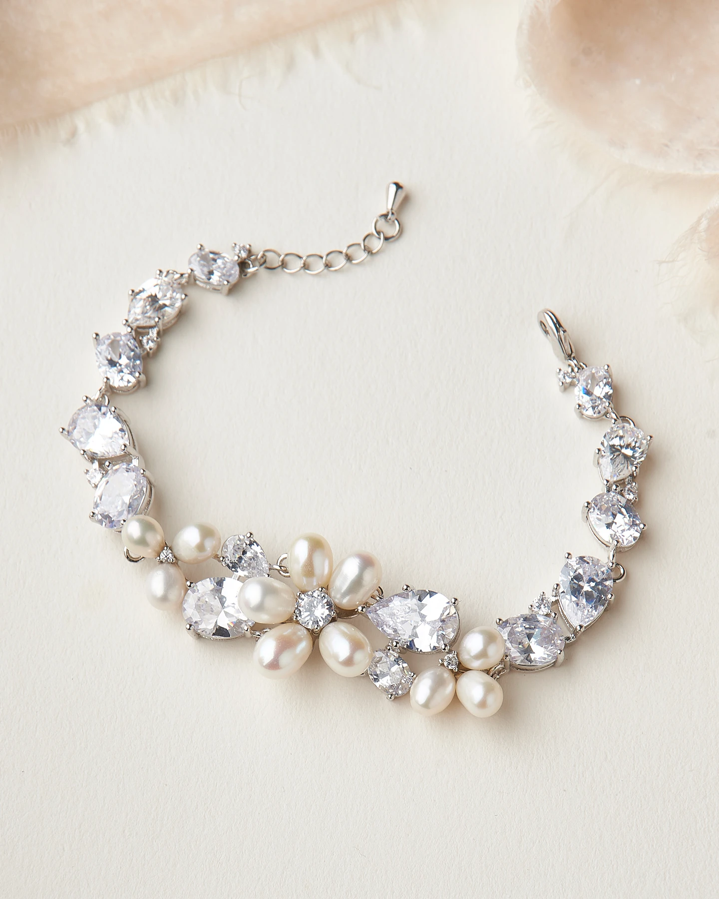 Bling wedding accessories Floral, Feminine & Showstopping Sparkle Bridal Pearl & CZ Bracelet