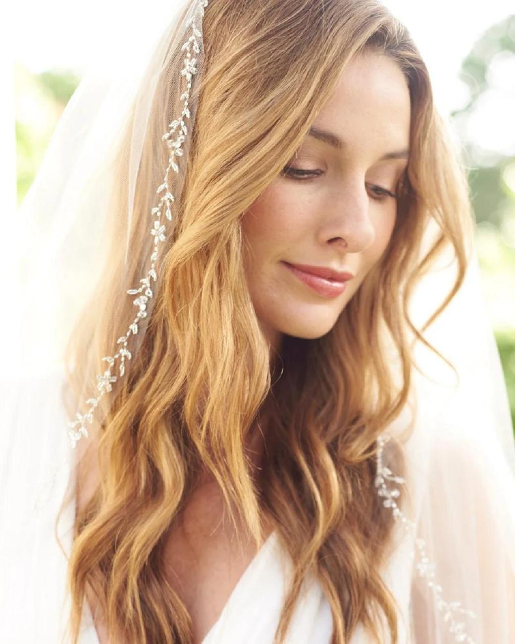 Bling wedding accessories  Layer Floral Vine & Leaf Edge Rhinestones Veil
