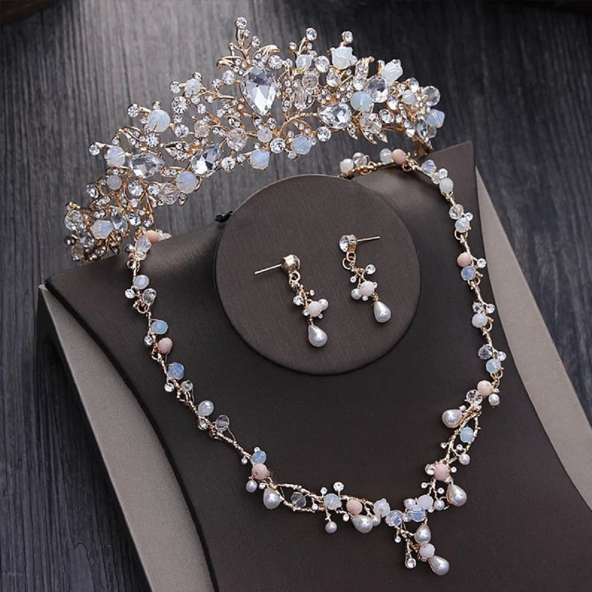 Bling wedding accessories Glittering Noble Crystal Beads Pearl Bridal Jewelry Sets