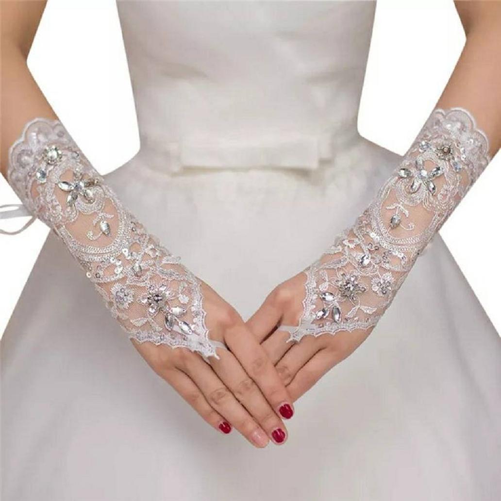 Bling wedding accessories Tulle Bridal Fingerless Glittering Rhinestones Gloves