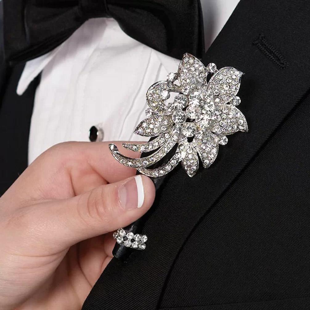 Bling wedding accessories Glittering Wedding Groom Rhinestone Flower Favour