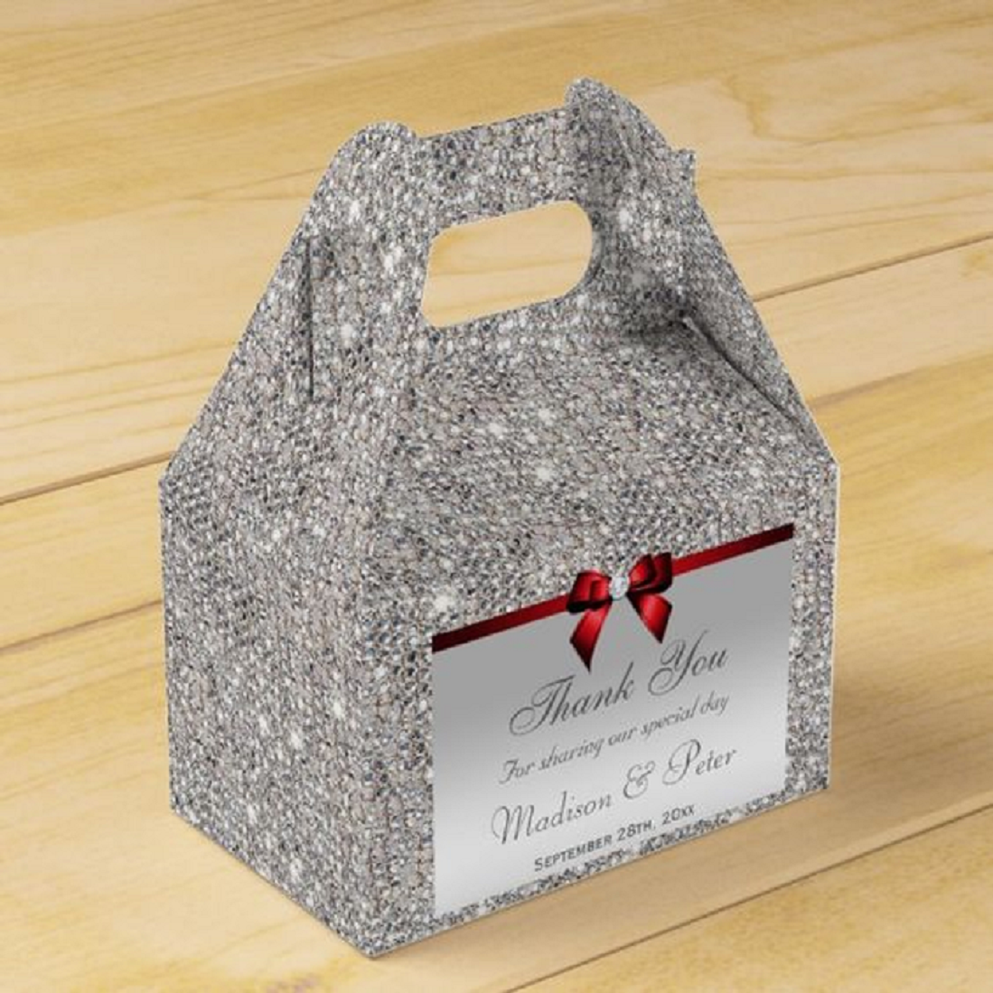Bling wedding accessories Sparkling Classy Silver Sequins Red Diamond Bow Favor Box