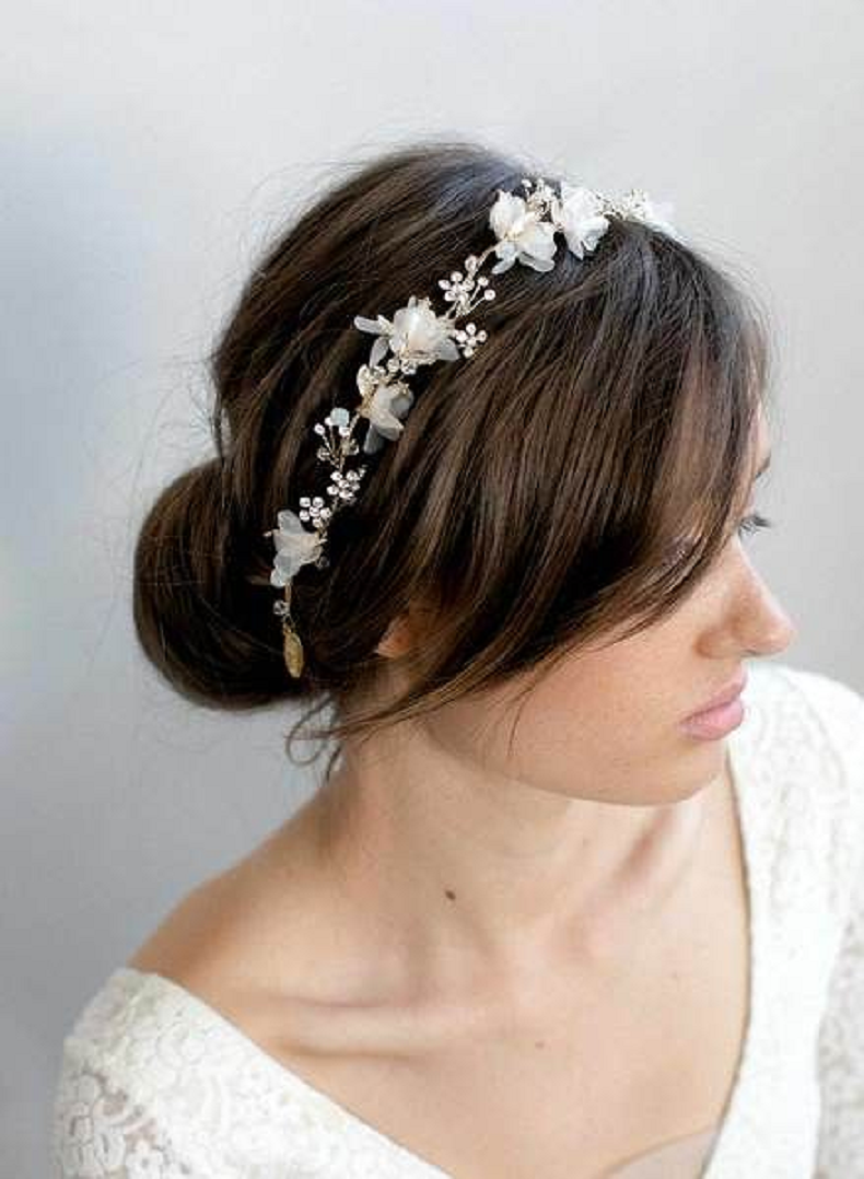 Bling wedding accessories Simple and Classy Floral Pattern with Rhinestones Bridal Headpiece