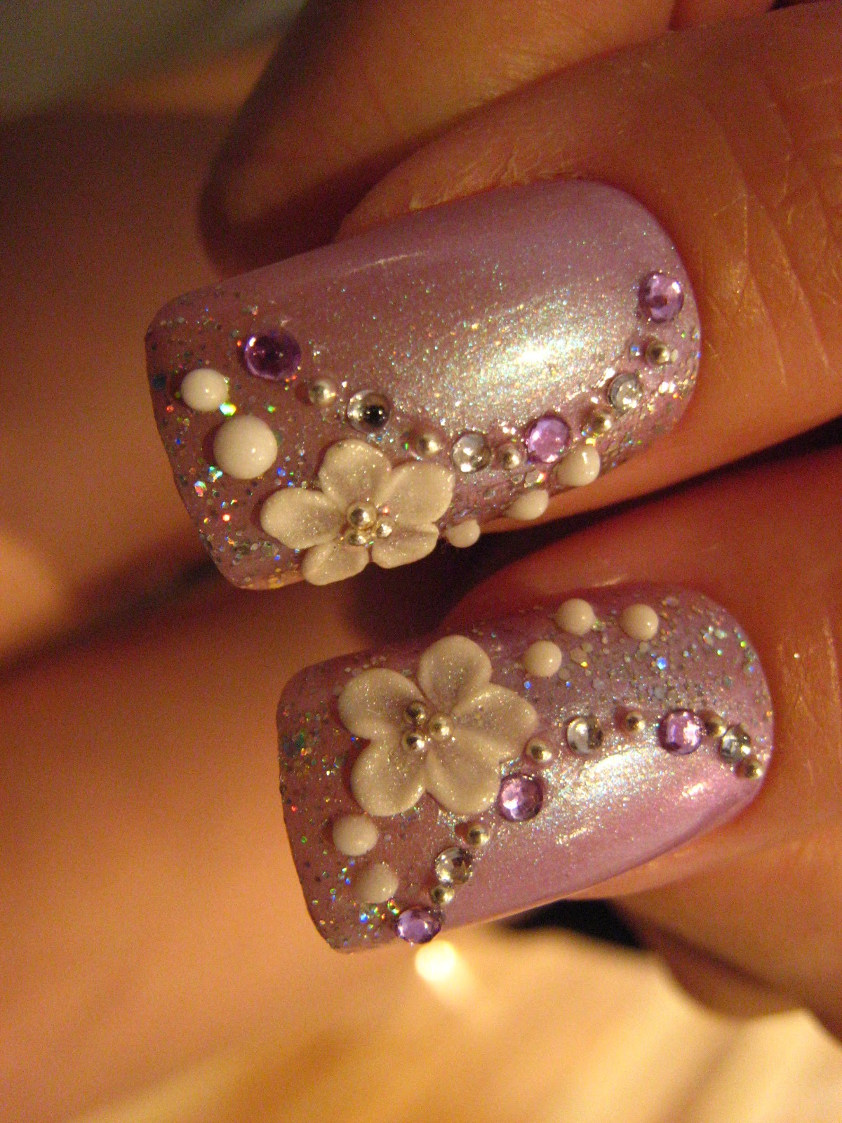 Bling wedding accessories Purple Nail Polish with Rhinestones and Floral Design