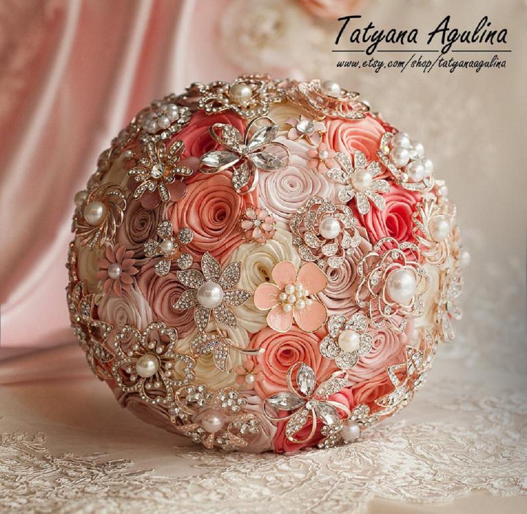 Bling wedding accessories Glittering Blush Pink Bridesmaid Bouquet