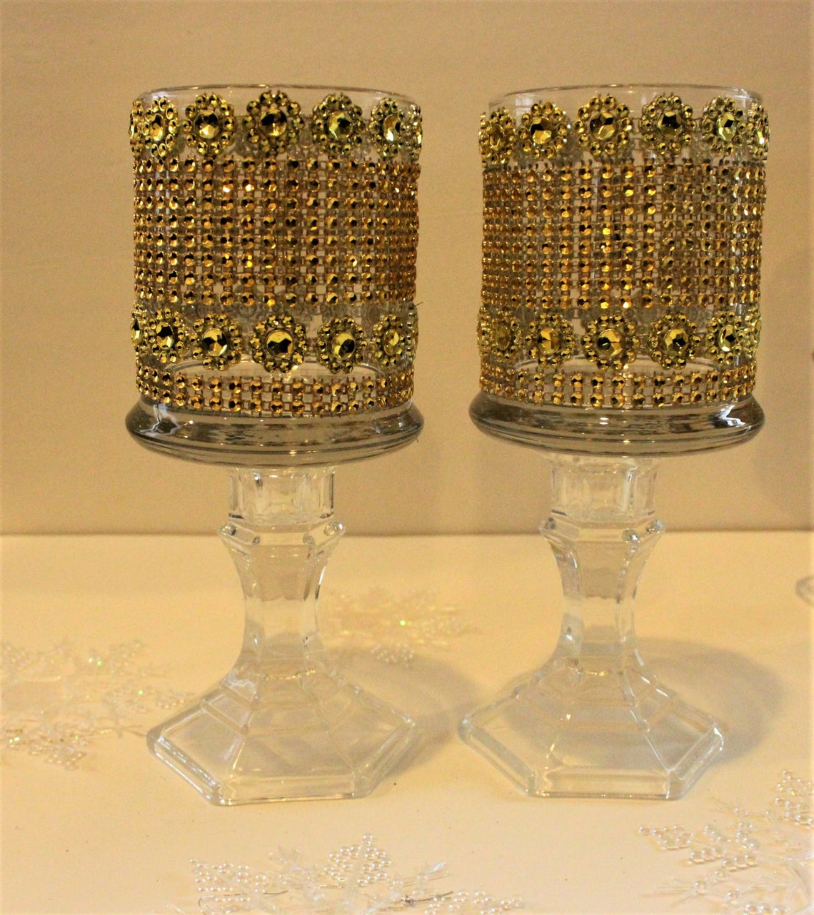 Bling wedding accessories Wedding Tall Glass Crystal Candle Holder Centrepiece