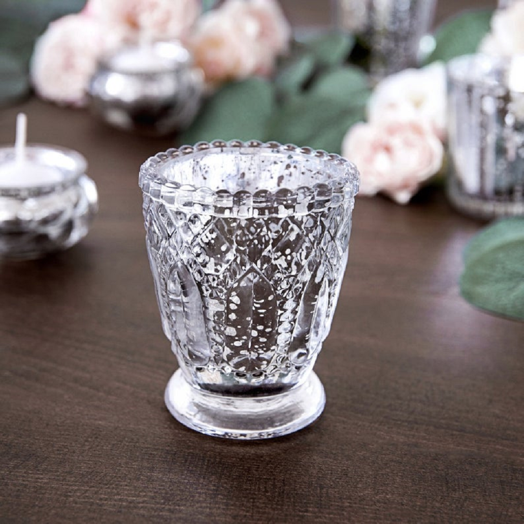 Bling wedding accessories Clear Glass Crystal Candle Holder Centerpiece