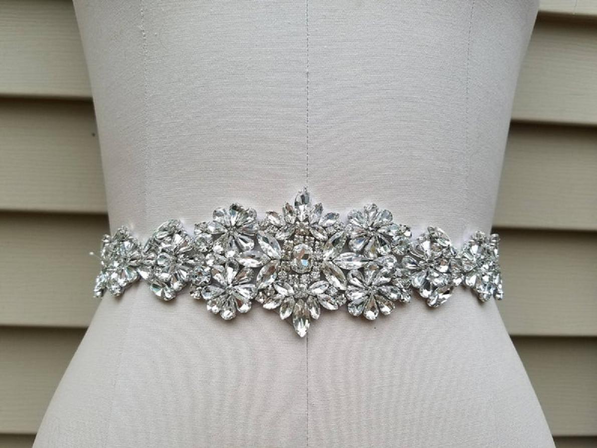 Bling wedding accessories Flower Design Sash Belt with Crystal Rhinestone Briday Waist Belt