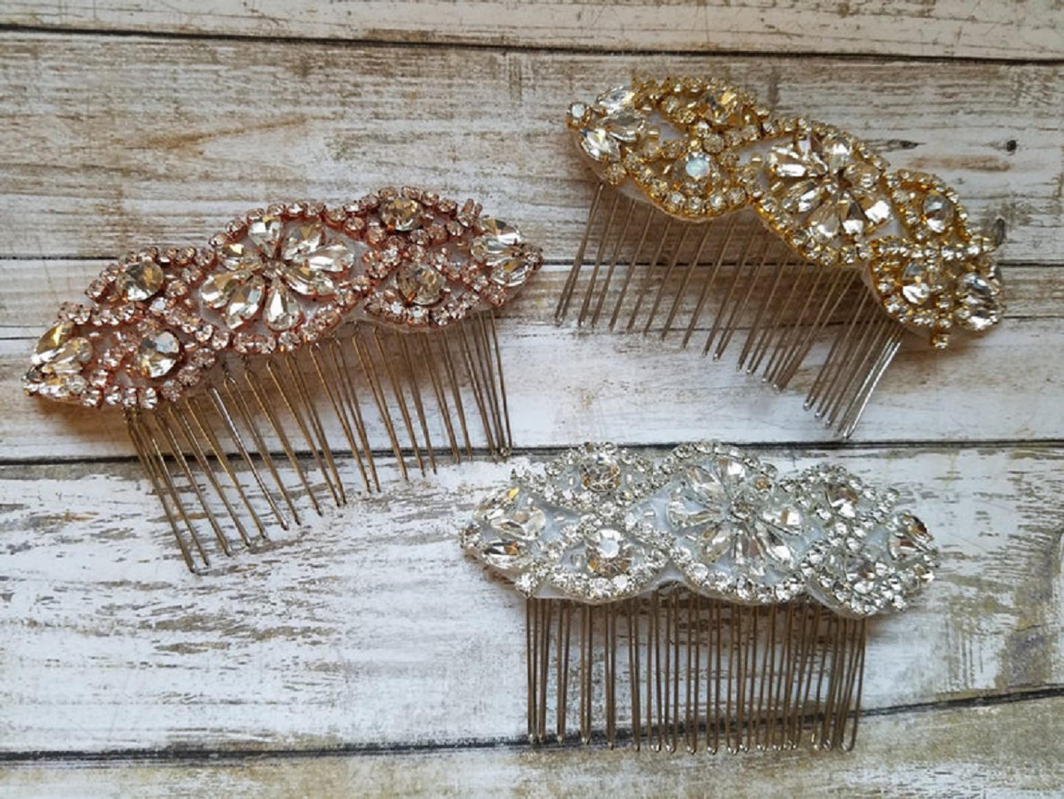 Bling wedding accessories Wedding Bridal Hair Comb with Rhinestone In Rose Gold