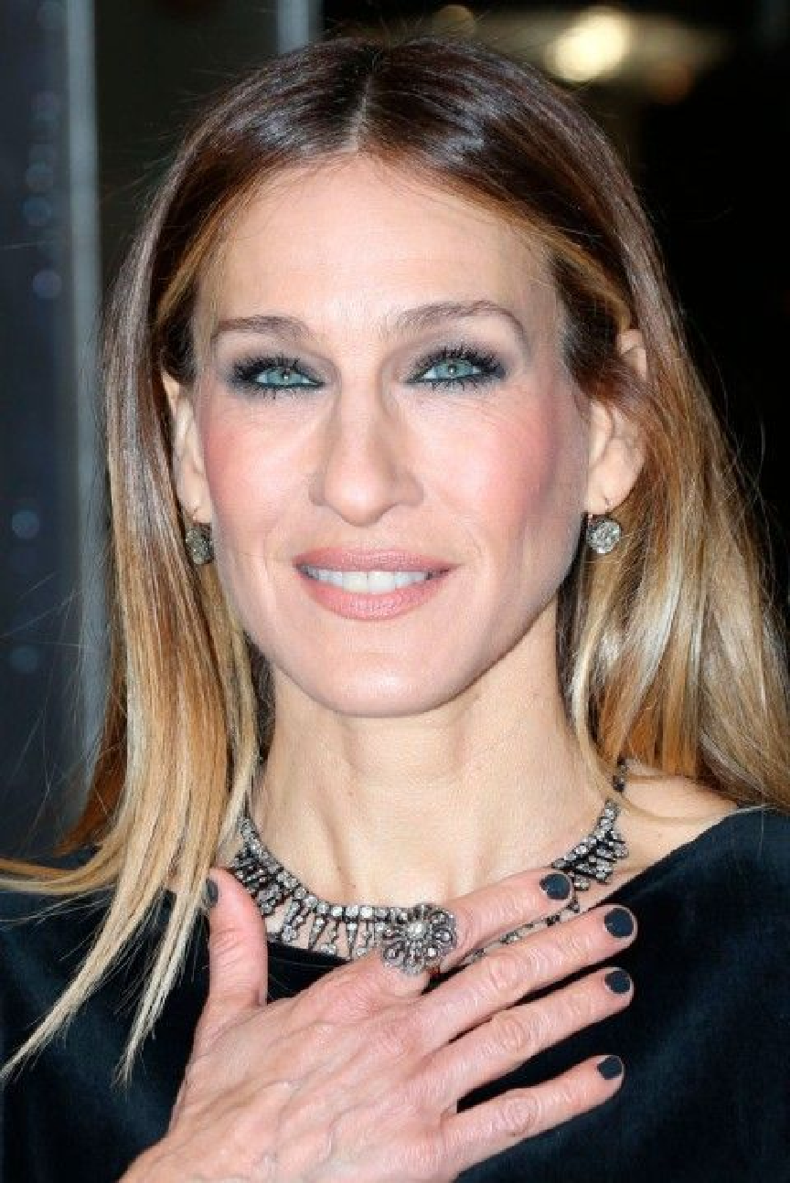 Celebrity Jewelry Sarah Jessica Parker Wears On A Black Chocker and Ring with Smokey Eye Makeup